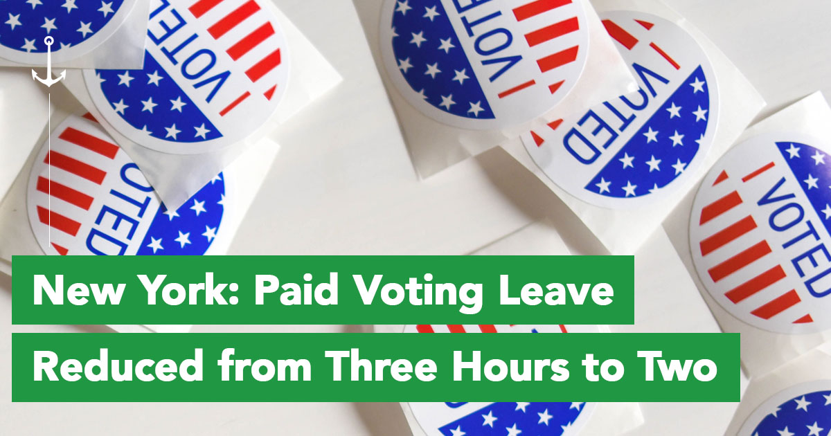 New York reduces paid voting leave from three hours to two.